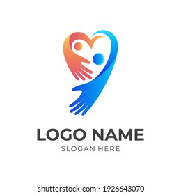 love family logo, heart and people, combination logo with 3d blue and orange color style