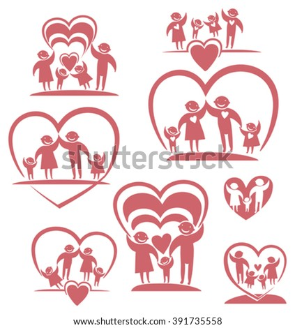 vetor stock de love family parents children vector icon livre de