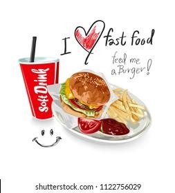 i love fast food slogan with hamburger set and soft drink illustration