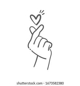 Love finger gesture, korean symbol of love. Asian heart. Illustration doodle.