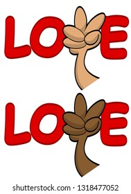 love fingers peace sign cartoon hand