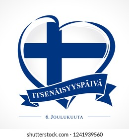 Love Finland emblem with heart in national flag and finnish text: Independence day 6 December. National holiday in Finland 6 December 1917, independence from Russian Empire. Vector greetings card