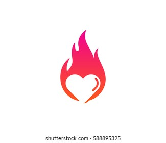Love Fire Logo Design Element
