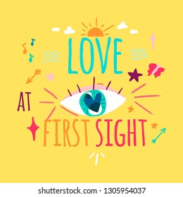 Love at first sight color greeting card design