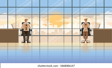 Love at first sight eye contact of office people working in the early morning sunrise. Man and woman using smartphone and laptop sitting at desk working room. City lifestyle of work hard over time.