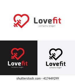 Love fit Fitness Logo Template