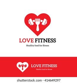 Love Fitness Logo. Food, Gym, Heart, Restaurant Symbol.