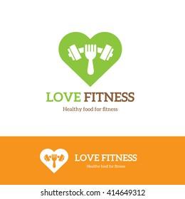 Love Fitness Logo. Food, Gym, Restaurant symbol.