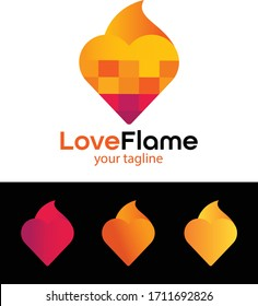 Love flame logo - Pixel love logo - Love logo - 3D love icon - colorful logo