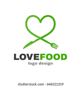 Love food modern style logo design. a spoon knife and a fork in the shape of a heart. Vector flat illustration icon. Isolated on white background. Knife and fork food love plate concept