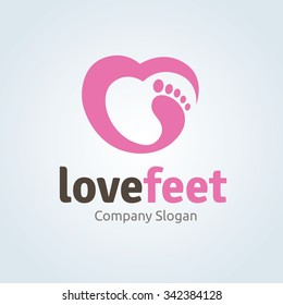 Love foot, Feet care logo template