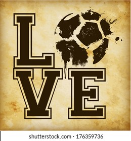 Love Football / Soccer Template - suitable for posters, flyers, brochures, banners, badges, labels, emblems, tags, wallpapers, web design, advertising, publicity or any branding.