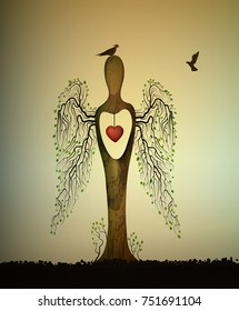 love the forest consept, forest soul, tree looks like angel with birds and red heart inside, love the tree concept,  tree sculpture with birds, tree`s dream, vector