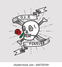 Love Forever, Shading Skull and Rose with Ribbon ,Old School Tattoo Style
