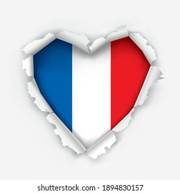 I love France, paper heart symbol. Heart shaped hole torn through paper showing French flag.Democratic patriotic concept. Vector available.