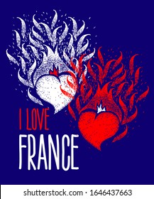 I Love France. Two hearts of the color of the flag of France with handmade lettering. Independence. Celebration. Burning heart. Fire hearts. Flame heart.
