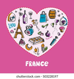 Love France. White heart filled with vintage doodles related with french culture isolated on pink background vector illustration. Memories about European journey. Sketched icons with national symbols