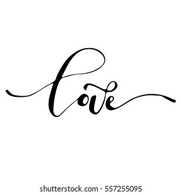 Love - freehand ink inspirational romantic catchword for valentines day, wedding, save the date card. Handwritten calligraphy isolated on a white background. Vector illustration
