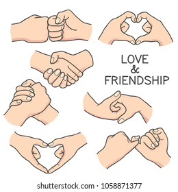 Love and Friendship hand gesture cartoon illustration. Vector collection of bonding hand in simple outline doodle style, isolated over white background.