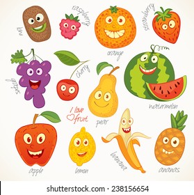 I love fruit. Funny cartoon character. Vector illustration. Isolated on white background. Set