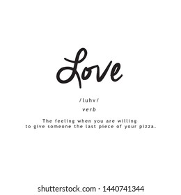 LOVE FUNNY DEFINITION, SQUARE, T-SHIRT STAMP, VECTOR TYPOGRAPHY