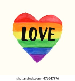 """""""Love"""" Gay Pride poster rainbow spectrum heart shape, brush lettering. Homosexuality emblem. LGBT rights concept. Parade announcement banner, event placard, sticker, invitation card design"""