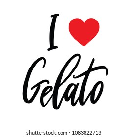 I love Gelato vector challigraphy, isolated on white backgraund. Sweet summer desert. Ice cream calligraphy in Italian