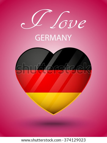 i love germany national flag on glossy valentines day heart on pink background