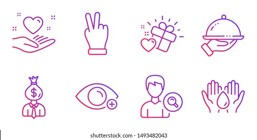 Love gift, Victory hand and Restaurant food line icons set. Farsightedness, Manager and Search people signs. Hold heart, Safe water symbols. Heart, Gesture palm. People set. Vector