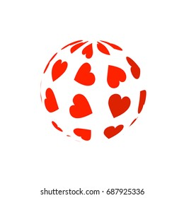 Love. Globe with heart mix. Vector illustration on white background