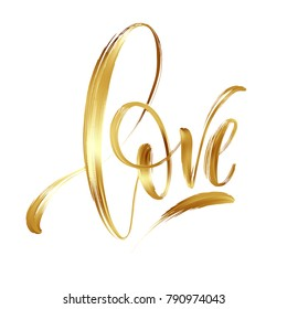Love gold hand drawn brush calligraphy. Vector illustration EPS10