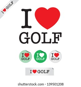 i love golf, font type with signs, stickers and tags