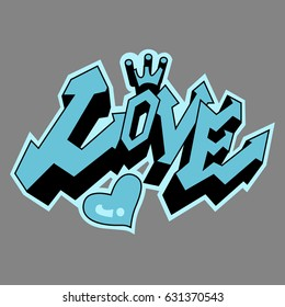 Love in Graffiti style painting, vector
