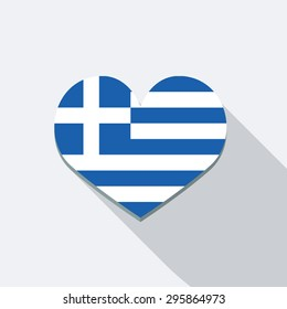 I Love Greece Icon. Flat Vector Icon With Long Shadow Design Collection.