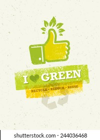 I Love Green Thumb Up With Green Leaves Creative Vector Concept.