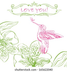 Love Greeting Card with Bird and Flowers. Vector illustration, can be used as creating card, wedding invitation, birthday, valentine's day and other holiday and summer or spring background.