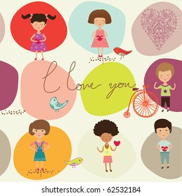 love greeting card with kids