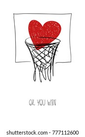 Love greeting card with red heart in basketball basket. Funny poster or card for birthday, save the day, wedding, Valentine's day, anniversary or just for sharing the feelings.