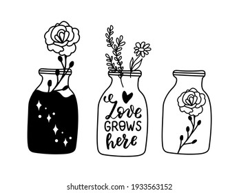 Love grows here. Mason jar with daisy, rosehip, wildflowers. Aromatherapy doodle hand drawn illustrations set. Aromatic herbal in mason jar. Selfcare, mental health wellness treatment and prevention