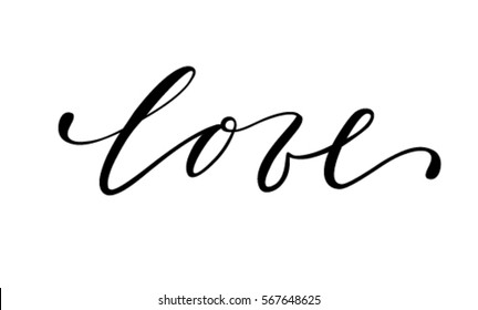 love Hand drawn creative calligraphy and brush pen lettering isolated on white background. design for holiday greeting card and invitation of the wedding, Valentine's day and Happy love day