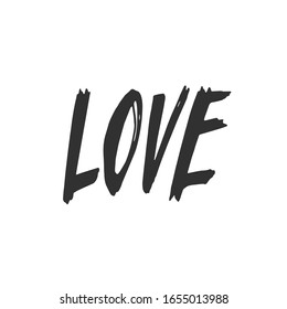 Love. Hand drawn text. Typography Design for printing cards, banners, posters. Vector illustration of lettering.
