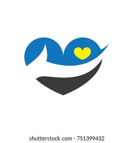 love with hand in the middle abstract logo vector
