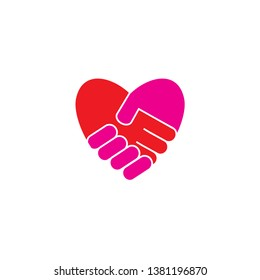 love hand shake icon design template