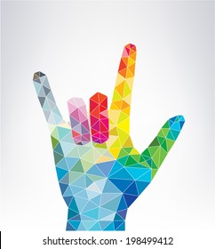 Love hand sign isolated on white. Colorful hand.