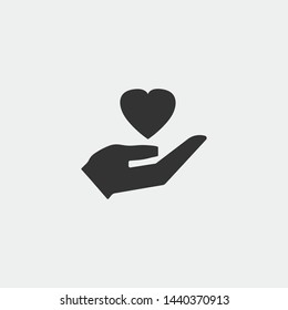 Love in hand vector icon illustration sign