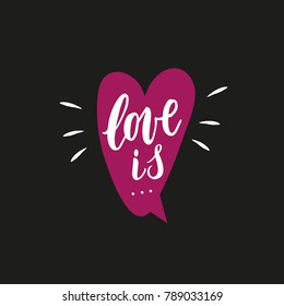 Love is hand written phrase with decor elements written on heart for prints on card.