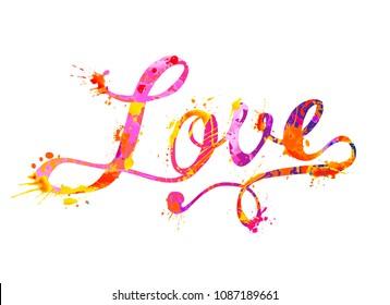 Love. Hand written vector word of splash paint