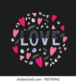 Love hand written word with decor elements on black background.
