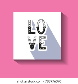 Love hand written word with decor elements for prints on card.
