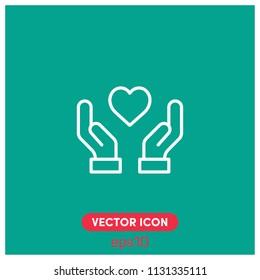 """Love in Hands"" Symbol Vector Icon Illustration.Green Backround.Premium Quality."